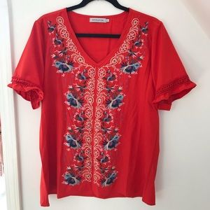 Misslook Red Embroidered boho top